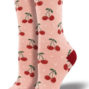 Pink Bamboo Cherry Women's Crew Socks