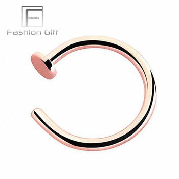 ac PEAPO2Q Rose Gold Color Fake Nose Rings False Piercing Body Jewelry G23 Titanium Hoops