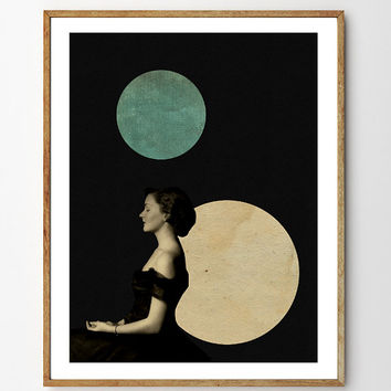 Listen - Mixed Media Art, Geometric Print, Surreal Art, Minimalist Poster, Vintage Photo, Vintage Women, Giclee Print, Wall Art
