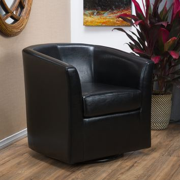 Corley Black Leather Swivel Club Chair
