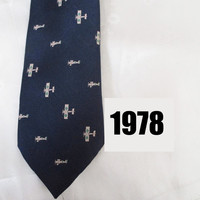 Vintage Navy Blue Necktie with Old Planes - Aviation Theme - 70s Novelty Neck Tie