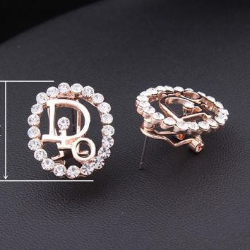 Gold Plated Inspired Rhinestone Letter Dior Oval Stud Earrings