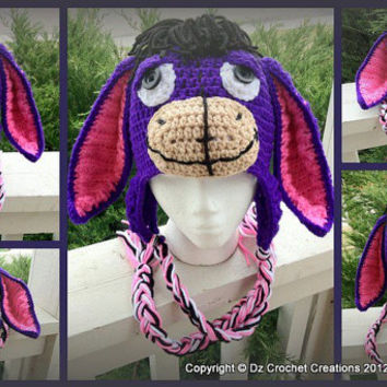 CROCHET PATTERN Eeyore inspired earflap beanie INSTANT Download / Crochet Pattern Eeyore beanie / Photo Prop Crochet Beanie Pattern / Baby