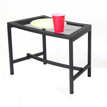 black mesh patio side table 1 table from serenity health home. Black Bedroom Furniture Sets. Home Design Ideas