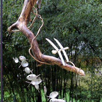 Driftwood and dragonfly, spoon fish wind chimes, Number 31