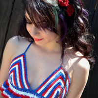Red White Blue Crochet Halter Top - Crop Top - Ruffle Top - Bikini Top - Festivals - Raves - Summer Fashion