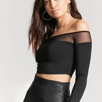 Sheer Mesh Off-the-Shoulder Top