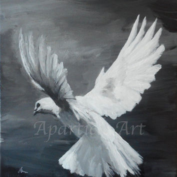 Flying white dove painting black and white gray acrylic on canvas artwork animal nature pigeon small wall art home decor artist Zwolle