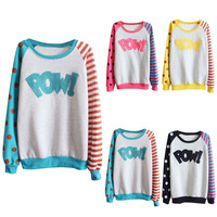 "MultiColor ""POW"" Printed Long Sleeve Sweatshirt"
