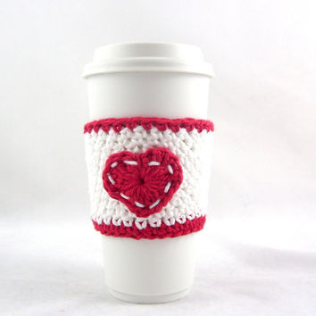 Red and White crochet coffee cozy,Crochet cup holder,Coffee cup cozy,Knit coffee cozy,Starbucks,Crochet coffee sleeve,Reusable sleeve,Tea