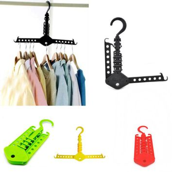 32*19 cm Multifunctional Plastic Space Saving Folding Storage/Neatening Wardrobe Clothes Hanger Clothing Drying Rack E2S