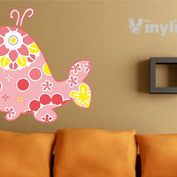 Pink Whale Vinyl wall decal sticker 23x25""