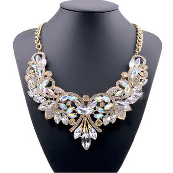 Multi-color Crystal Bib Statement Necklace