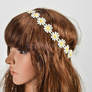 White Daisy Flower Head Wreath Hair Band Crown Garland Decor Festival Boho Hippy Style