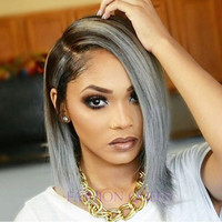 Promotion Ombre Gray Bob Wig Black/Silver Gray Lace Front Wig Short Grey Bob Wigs Synthetic Bob Glueless Wigs For Black Women