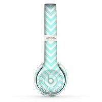 The Light Teal & White Sharp Chevron Skin Set for the Beats by Dre Solo 2 Wireless Headphones