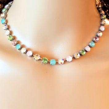 Swarovski Crystal Petite Necklace, 6MM, Bridal, Everyday Wear, Greens and Pinks,Antique Silver DKSJewelrydesigns