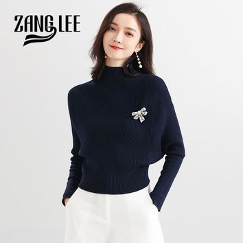 ZANG LEE 2018 Winter Korean Chic Bat Sleeve Turtleneck Sweaters And Pullovers High Quality Ladies Christmas Sweater Sueter Mujer