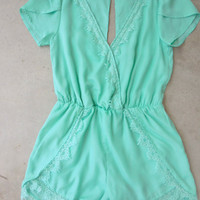 Mint Lace Affair Romper [7100] - $36.80 : Feminine, Bohemian, & Vintage Inspired Clothing at Affordable Prices, deloom