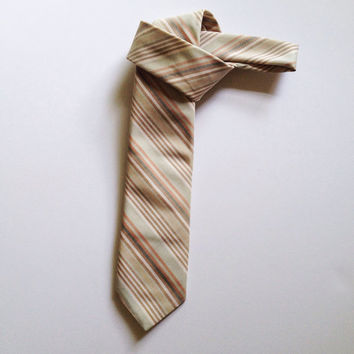 Christian Dior Tie - Designer Mens Accessories - Cool Neutrals Necktie - Striped Silk Tie - Vintage Wedding Tie - Guy Gift - FREE SHIP