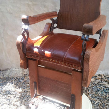 Vintage barber chair 60's brown leather
