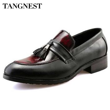 Tangnest Men Tassel Loafers British Style Men's Dress Shoes Vintage Mixed Color Pu Leather Flats Man Casual Shoes Brown XMP713