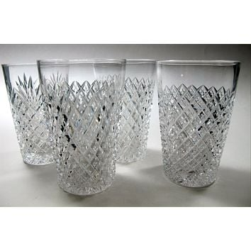 4 ABP juice American Brilliant Period hand Cut Glass blown Strawberry diamond