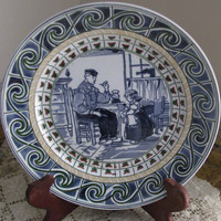 Embossed Dutch Porcelain Plate, Pretty Blue And White Design, With An Interior Kitchen Dutch Image Of Man And Little Girl