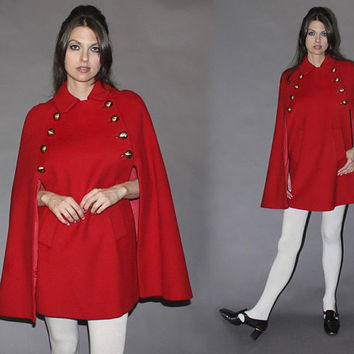 Vintage 60s MOD RED CAPE / Wool Poncho / Gold Buttons, Sailor / Groovy, London / Mid Length Cape