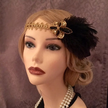 Gatsby Style Fleur De Lis Sequin Gold Black Flapper Headpiece 20s Art Deco Downton Abbey 1920s Costume Satin Headband Headdress 20's (669)