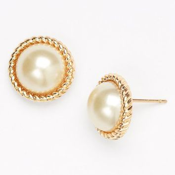 Women's kate spade new york 'seaport' faux pearl studs - Cream/ Gold