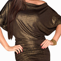 Black Glitter Cuff Sleeve Ruched Blouson Mini Dress
