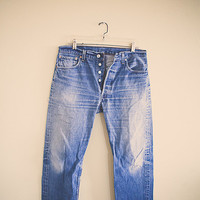 Levi's 501 Vintage Acid Washed Worn in Denim Jeans Button Fly Distressed 34 x 32 Boyfriend Jeans 80's
