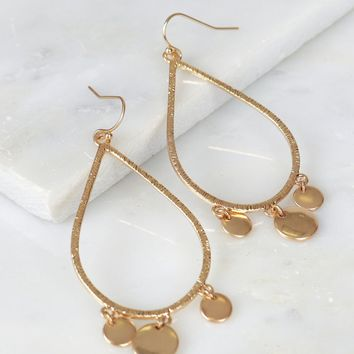 Teardrop Tri-Charm Earrings Gold