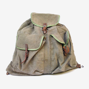 Vintage military canvas backpack travel waxed backpack school backpack soviet army backpack military waxed rucksack indiana jones backpack