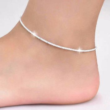 Tiny Pure 925 real silver plated Beads Curb Chain Anklet for Women Girls Friend Foot Jewelry leg bracelet barefoot tobillera