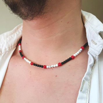 MENS NECKLACE Black Onyx Howlite Red Coral Necklace for Men Mens Jewelry Men's Beaded Necklace Gemstone Necklace Matt Onyx Necklace 4mm