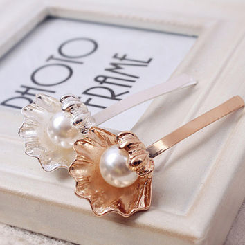 Elegant Fashion Shell Imitation Pearl Hairpins Barrettes for Women Girl Hairgrips Japanese Hair Accessories