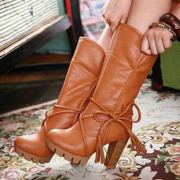Platform Lace Up Leather Chunky Heel Calf Boots