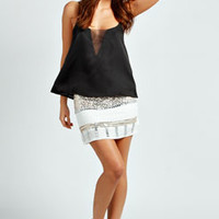 Faye Woven Sheer Panel Cami Top