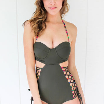 Solkissed Swimwear Arizona One Piece in Cactus Green