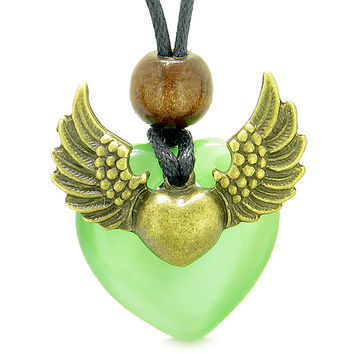 Angel Wings Double Lucky Heart Donut Amulet Magic Powers Neon Green Simulated Cats Eye Pendant Necklace