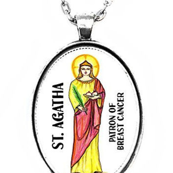 St Agatha Patron of Breast Cancer Huge 30x40mm Handmade Silver Plated Art Pendant
