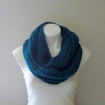 Teal Crochet Infinity Scarf