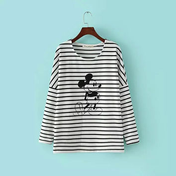 2016 New Arrival Autumn spring Women T Shirts Tops O Neck Mouse Strips Print Full Sleeve Tops Tees Sale-Seller