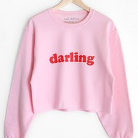 Darling Cropped Oversized Sweatshirt - Pink