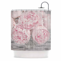 "Suzanne Harford ""Pink Peony Flowers"" Floral Photography Shower Curtain"