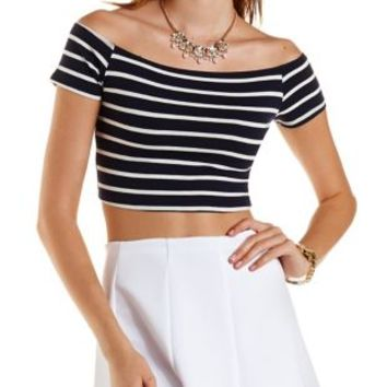Navy Combo Striped Off-The Shoulder Crop Top by Charlotte Russe