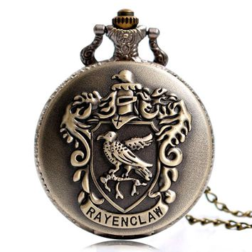 Vintage Bronze Eagle Ravenclaw Harry Potter Quartz Pocket Watch Necklace Analog Chain Copper Men Women Children Kids Gift Saat