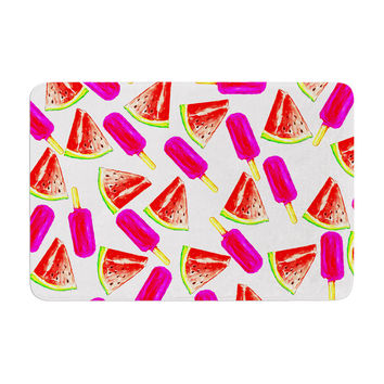 "Sreetama Ray ""Strawberry & Watermelon"" Pink Red Memory Foam Bath Mat"